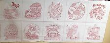 """1 Pretty Redwork """"Picture Book Patches"""" Cotton Quilting Fabric Panel"""
