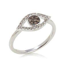 "Rarities Carol Brodie 0.2 ctw Diamond Sterling Silver ""Evil Eye"" Ring size 7 HSN"
