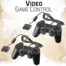 2x Black Twin Shock Video Game Controller Joypad Pad for Sony PS2 Playstation 2