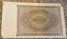 Vintage Reichbanknote 100,000 Mark 1 February 1923 Serial 11R-139617  USED