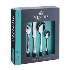 Viners Wave 16PC Conjunto de Cubiertos De Acero Inoxidable-Cuchillo Tenedor Cuchara Cucharita