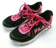 Fila Lightweight Athletic Running Shoes black neon pink white Womens size 6