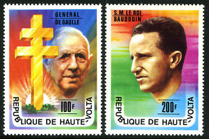 Burkina Faso (Haute-Volta) 434-435, MNH Charles De Gaulle, King Baudouin, 1977