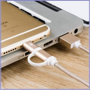 New 2 in 1 Micro USB Data Charging Cable For iPhone X XR 7 8 Samsung Android 3.0