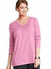 Just My Size JMS Long Sleeve V-Neck Top Blouse Tee OJ043