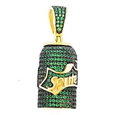 925 Sterling Silver 14K Gold Plated Iced Green Sprite  Pendant