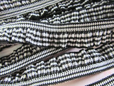 4 yards Spandex Elastic Gingham Check Ruffle Lace Trim/Sewing T110-Black/White