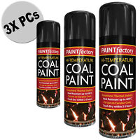 3x PCs Black HI Temperature 600 C Coal Paint Cans Gas Fire Spray Coals DIY 400ml