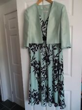 Jaques Vert Dress & Jacket Size 16 mother of the bride pale green navy flowers