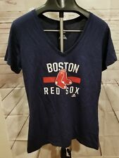 BOSTON RED SOX XL SHIRT WOMENS LADIES MLB BASEBALL MAJESTIC PRINTED V NECK CUTE