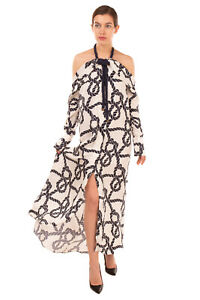 RRP €2470 MONSE Silk Maxi Dress Size 2 / XS Rope Print Halterneck Made in USA