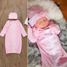 LK _ eg _ Recién Nacido Bebé Niña Saco de dormir manga larga Lace PELELE + Gorra