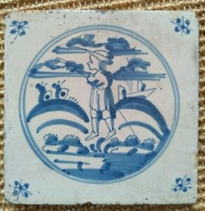 ANTIQUE 18C ENGLISH DELFT BRISTOL TILE BLUE AND WHITE DEPICTING A SHEPHERD