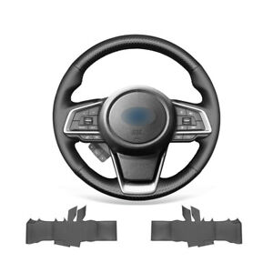 Black Carbon Fiber Leather Steering Wheel Cover Wrap For Subaru Forester Ascent