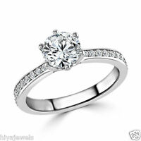 1 Ct Round Cut Diamond Solitaire Engagement Ring 14k White Gold Over Size H-Z