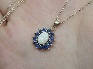 Beautiful Solid 9ct Yellow Gold Cluster Pendant Oval White Opal Round Blue Topaz