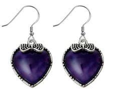 """Aged Silver Tone Hook Drop Dangle Earrings 1 3/4"""" Heart Dark Purple Stone Bow"""