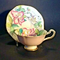 Rosina A. Bentley Pedestal Cup & Saucer - Pink With Tropical Flowers -  England