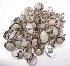 10pcs Ring Lot Rainbow Moonstone Gemstones 925 Sterling Silver Overlay