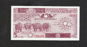 5 SHILLINGS AUNC BANKNOTE FROM SOMALIA 1987 PICK-31