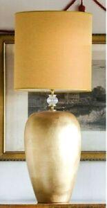 Lampada da tavolo finitura con foglia d'oro 24 K in maiolica italiana ceramica