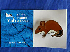 RSPB Giving Nature a Home New wood mouse metal pin badge on Blue FR Card