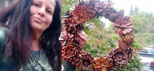 """New Home made 12"""" In Pine Cone all Occassion Wreath Natural"""