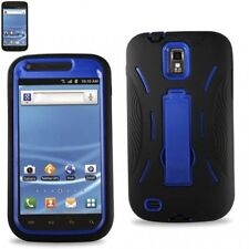 T-Mobile Samsung Galaxy S II 2 T989 Impact Hard Rubber Case Kick Stand Blk Blue
