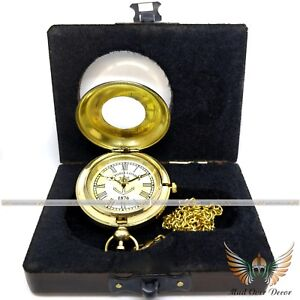 COLLECTIBLE VINTAGE PIRATE BRASS CAPTAIN PUSH BUTTON POCKET WATCH W/ WOODEN BOX