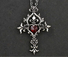 "Collier Chaîne + Pendentif Croix Vampire Diaries Coeur Rouge Gothique "" Neuf """