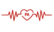 PA Physicians Assistant Heartbeat Rhythm Vinyl Decal Window Sticker Car
