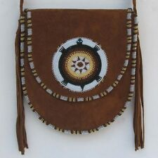 Brown Suede Leather Women Messenger Shoulder Handbag Medallion Handmade Beadwork
