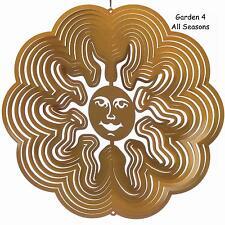 "6""/15cm Stainless Steel GOLD SUN/SUNBURST Wind Spinner Sun Catcher Hook Garden"