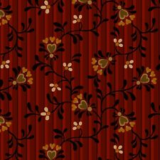 Dark Red Vines Hearts Berries & Blossoms Henry Glass Quilt Fabric by the 1/2 yd