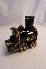 New listing Vintage Smoking Smokestack Locomotive Train Ashtray Black Gold Ceramic