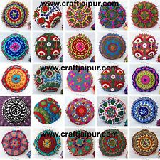 "Indian Cushion Cover Suzani 16"" Round Embroidered Handmade Decorative Pillowcase"