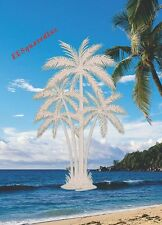 Palm Trees Window Cling OVAL 15x23 Etched Glass Look Decals Tropical Door Decor