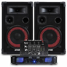 """2x Skytec 8"""" PA Party Speakers Amplifier DJ Mixer Cables Disco System 500w"""