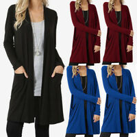 Womens Long Sleeve Cardigan Open Front Draped Sweater Tops Coat with Pockets US