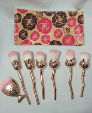 6Pc Rose Flower RoseGold Makeup brushes in mesh & Fish scale Brush with zip case