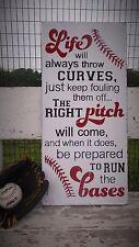 Baseball Game Strike Bases Foul Summer Sign Kids Boys Bedroom Decoration Gift