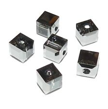 SCC2112 SILVER NIGHT Swarovski Crystal Faceted 6mm Square (5601) Cube Bead 6/pkg