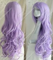 Cos Light Purple Long Wavy Curly Cosplay Full Wig Free Shipping