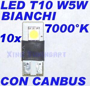 Nr 10 CANBUS SMD LED BIANCO 7000K T10 W5W NO ERRORE 12V