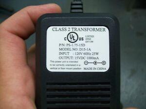 15V DC 1A Power Adapter Supply 120V 60Hz 25W P/n PS-1.75-15D