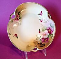 Nippon Candy Bowl - Hand Painted Violets - Gold Moriage - Japan Maple Leaf TM