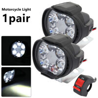 2Pcs Motorcycle LED Spot Lights Motorbike Headlight Fog Front Head Lamp 6 Bulb