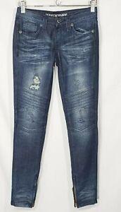 Affliction Women's Skinny Distressed Dark Denim Moto Jeans 25 x 29 Zip Ankle