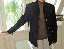 OVERLAND Western Buckskin Suede Twisted Fringe Leather Jacket Women Size S NWOT