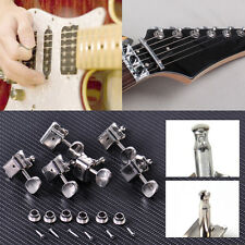 6-in-a-line Nickel Vintage Fender Style Oval Knob Tuners Solid Head Tuning Pegs